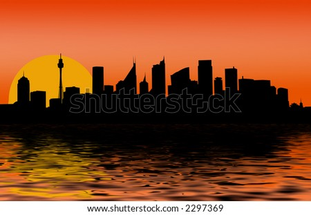 sunset - Sydney CBD at dawn (With rippled water foreground) - stock photo