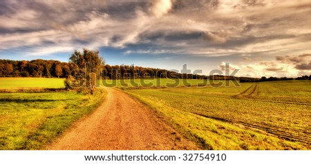 Sunset - the countryside (HDR-photo) - stock photo