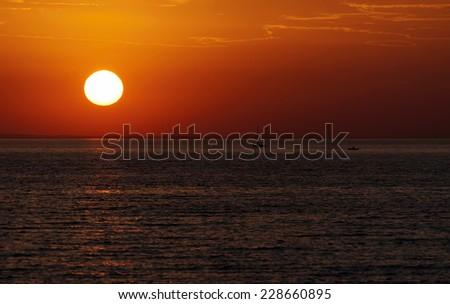 Sunset time at Lake Balaton, Hungary - stock photo