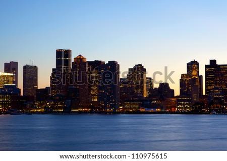 Sunset time view of Boston skyline over Charles River, Massachusetts, USA - stock photo