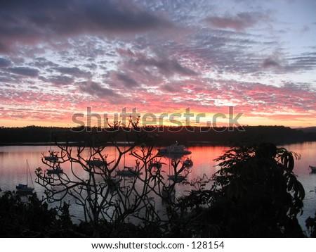 Sunset, Tonga - stock photo