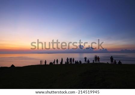 sunset & traveler - stock photo