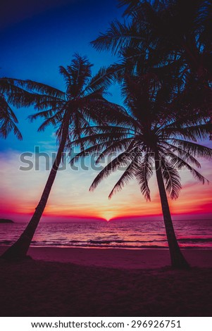 sunset tropical beach.  Beautiful sunset