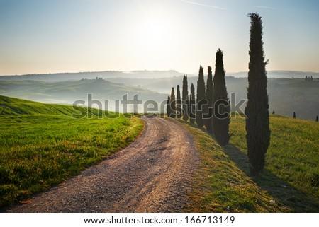 Sunset Tuscany landscape - stock photo