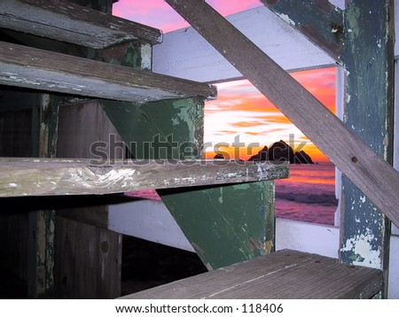 Sunset under the Steps, Shelter Cove, Pacifica, California - stock photo