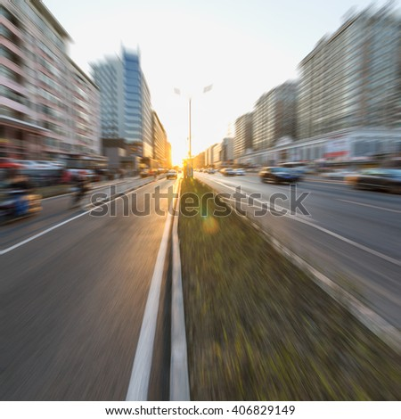 Sunset Urban Road