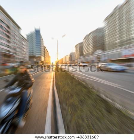 Sunset Urban Road - stock photo