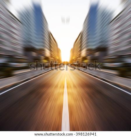 Sunset Urban Road blur - stock photo