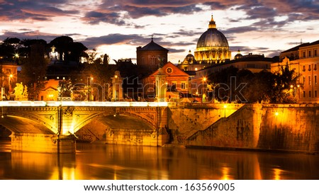 Sunset view at St. Peter's cathedral in Rome, Italy - stock photo