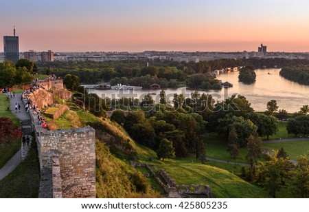 Sunset view from Belgrade tower Kalemegdan on Sava river