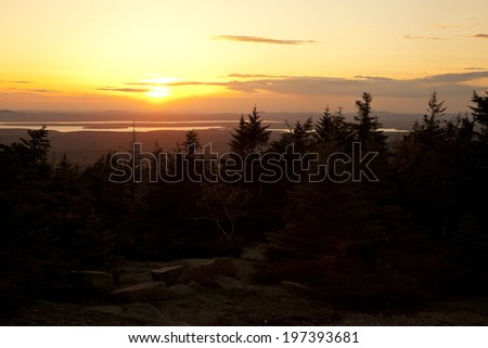 Sunset view from Cadillac Mountain, Acadia National Park, Maine - stock photo