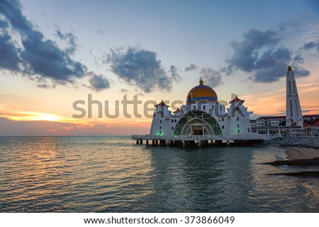 Sunset view from Malacca Straits Mosque
