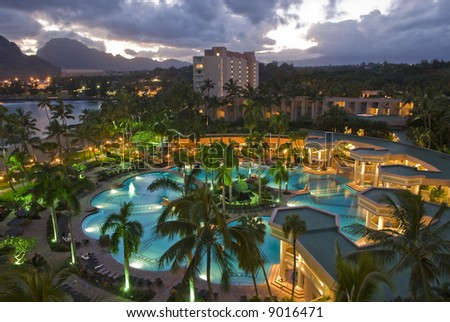 Sunset view from the balcony of a room at the Marriott Resort And Beach club in Lihue, Kauai. - stock photo