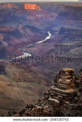 """Sunset view from the historic """"Desert View"""" point at the South Rim of the Grand Canyon, AZ, USA - stock photo"""