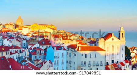 Sunset view of Alfama district - Old Town of Lisbon. Portugal
