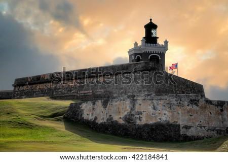 Sunset view of ancient Fort San Felipe Del Morro in San Juan, Puerto Rico - stock photo