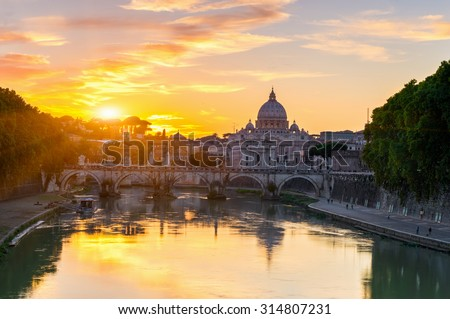 Sunset view of Basilica St Peter and river Tiber in Rome. Italy  - stock photo