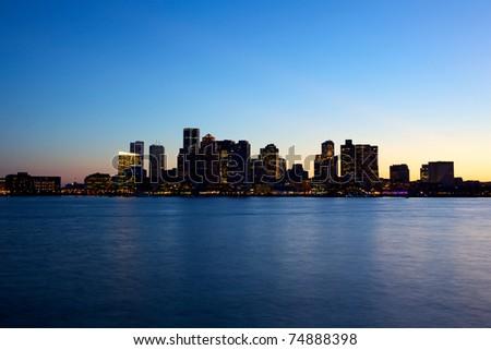 Sunset view of Boston skyline - stock photo
