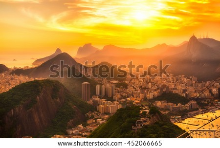 Sunset view of Botafogo, mountain Corcovado and Christ the Redeemer  in Rio de Janeiro. Brazil - stock photo
