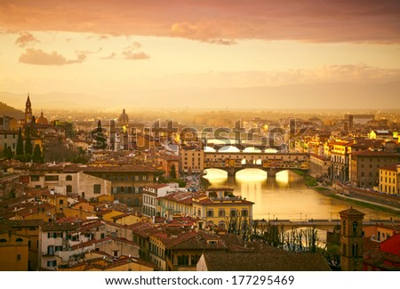Sunset view of bridge Ponte Vecchio. Florence, Italy - stock photo