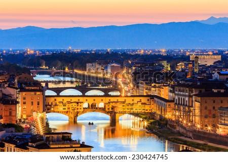 Sunset view of bridge Ponte Vecchio. Florence, Italy - stock photo