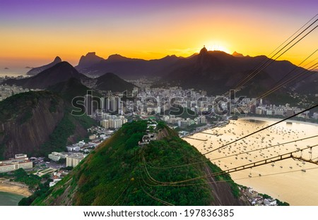 Sunset view of Corcovado and Botafogo in Rio de Janeiro. Brazil - stock photo