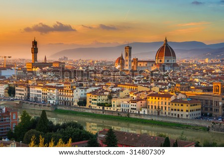 Sunset view of Florence and Duomo. Italy - stock photo