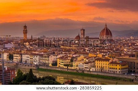 Sunset view of Florence with Cathedral (Duomo), Palazzo Vecchio, Italy - stock photo