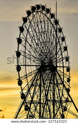Sunset view of giant ferris wheel in the Philippines