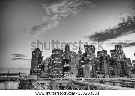 Sunset view of Lower Manhattan buildings.