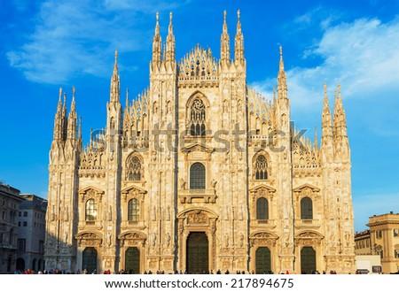 Sunset view of Milan Cathedral (Duomo di Milano) in Milan, Italy - stock photo