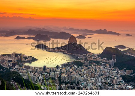 Sunset view of mountain Sugar Loaf and Botafogo in Rio de Janeiro. Brazil - stock photo