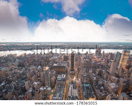 Sunset view of New York Buildings. Manhattan skyline. - stock photo