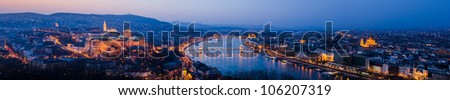 Sunset view of panorama Budapest, Hungary, from fortress Citadel - stock photo