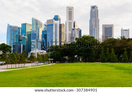 sunset view of park near Singapore downtown