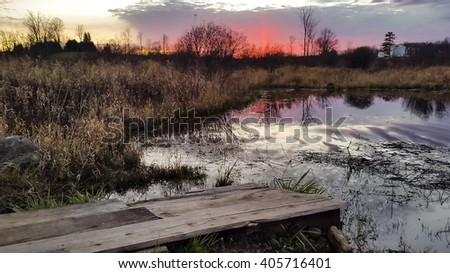 sunset view of rural landscape