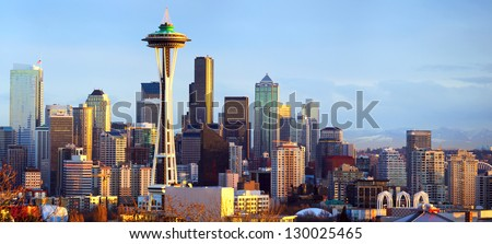Sunset view of Seattle skyline, WA, USA - stock photo