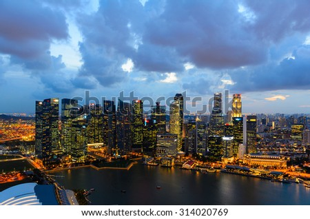sunset view of Singapore downtown from above