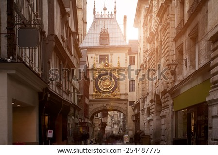 Sunset view of the Gros Horloge is a fourteenth-century astronomical clock in Rouen, Normandy, France - stock photo