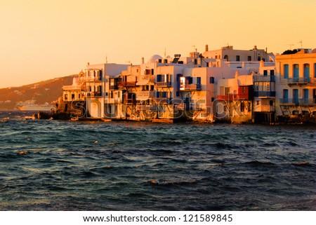 Sunset view of the Little Venice neighborhood of Mykonos, Greece - stock photo