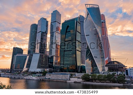 sunset view of the Moscow International Business Center, also referred to as Moscow City is a commercial district in central Moscow, Russia.