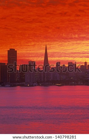 Sunset view of the San Francisco skyline from Treasure Island, San Francisco, California - stock photo