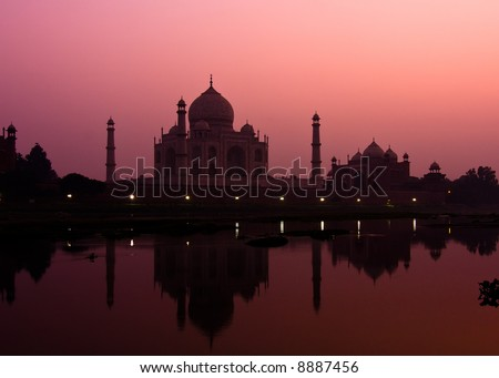 Sunset view of the Taj Mahal reflecting in the Yamuna river - Agra, Uttar Pradesh, India - stock photo