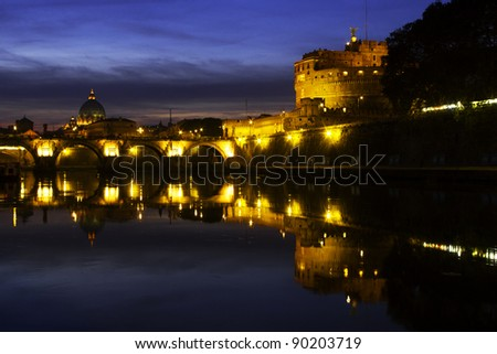 Sunset view of the Vatican and Castel Sant'Angelo, Rome, Lazio, Italy