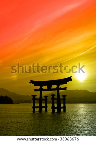 Sunset view of Torii gate Miyajima Japan