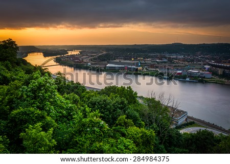 Sunset view over the Ohio River in Pittsburgh, Pennsylvania. - stock photo