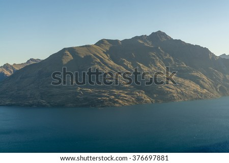 sunset view overlake wakatipu viewed from queenstown skylne gondola.