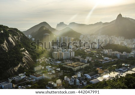 sunset views of Jesus and Corcovado from Sugar Loaf Mountain - stock photo