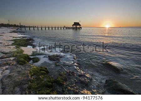 Sunset, West coast of Cozumel Island, Mexico - stock photo
