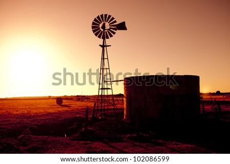 Sunset Windmill - stock photo